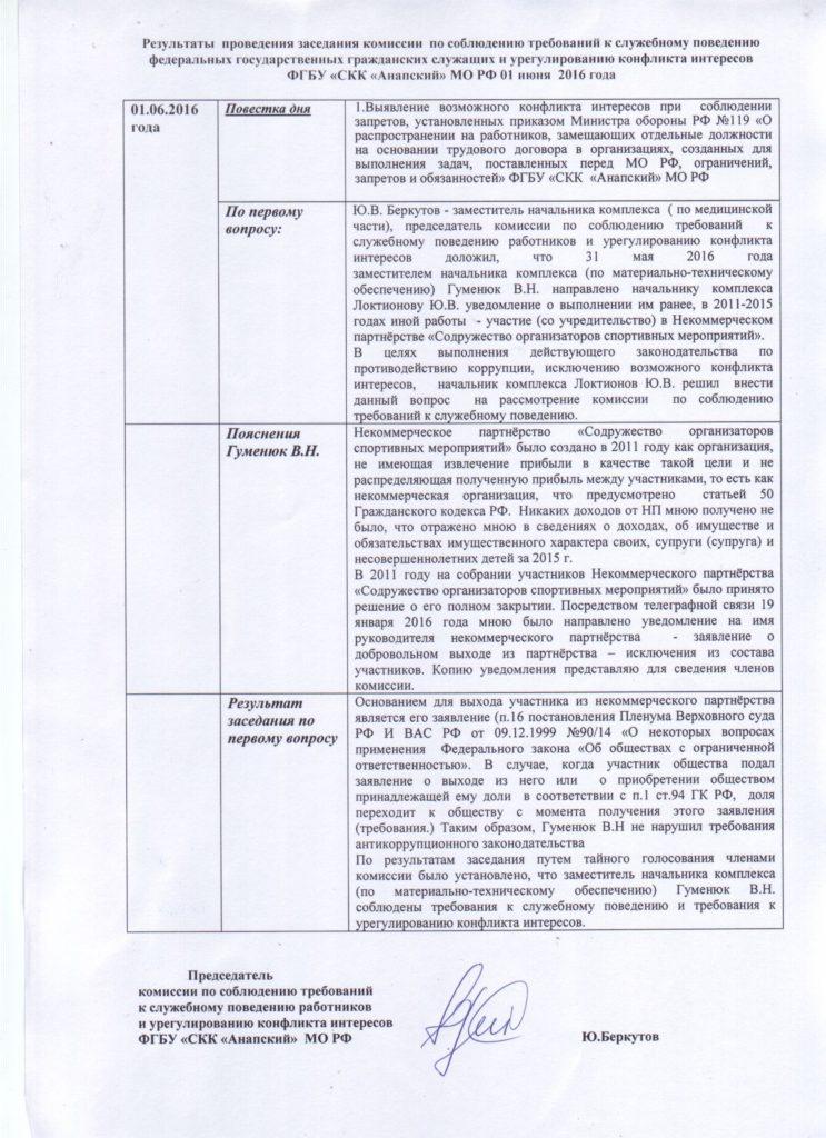 Результат комиссии